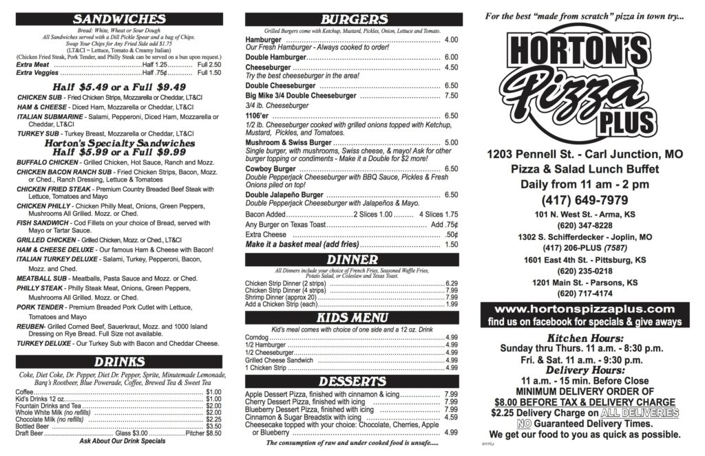 Horton's Pizza Menu | Carl Junction MO