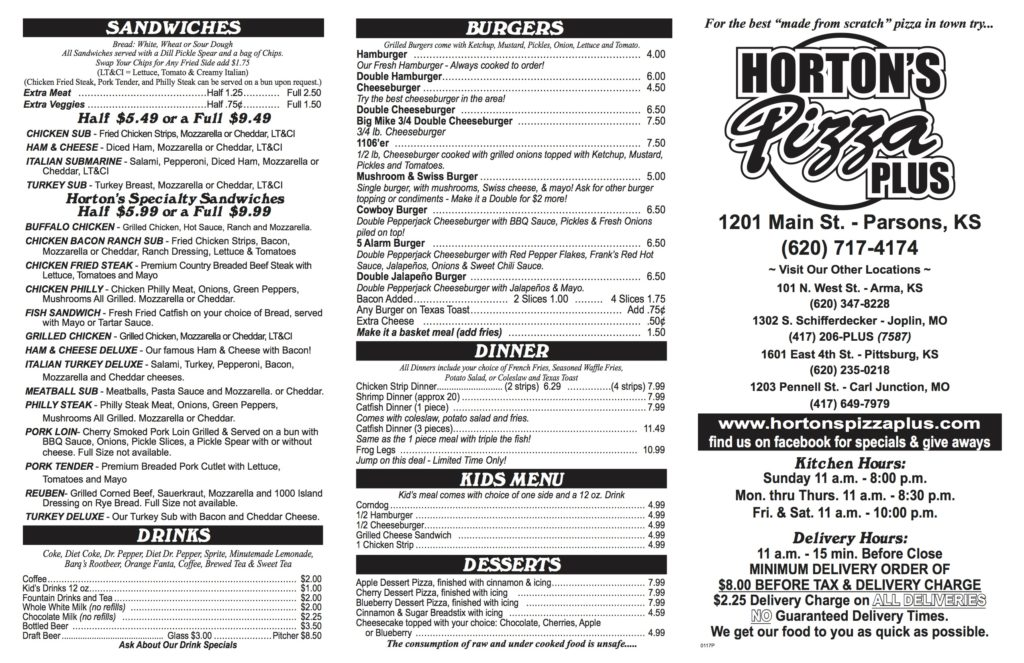 Horton's Pizza Menu | Parsons KS